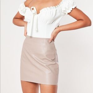 Misguided Dusty Taupe Faux Leather Mini Skirt